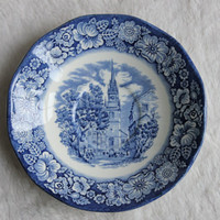 "Liberty Blue ""Old North Church"" Boston Plate Saucer, Staffordshire Ironstone, Bicentennial Historic Colonial Scenes Transferware, England"