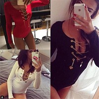 KAYWIDE S-XL Sexy Deep V Neck Lace Up Rompers Womens Jumpsuit 2016 Bodycon Long Sleeve Playsuit Metal Bodysuit Macacao Feminino