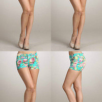 Women Sexy Floral Print Denim Mini Strech Skinny Tight Short Low Rise Waist