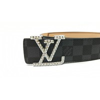 LV 2019 new diamond letter buckle wild simple smooth buckle belt black check