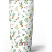 The Tropical Pineapple and Floral Pattern Yeti Rambler Skin Kit