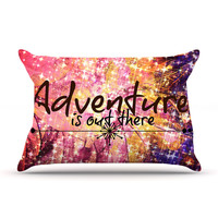 "Ebi Emporium ""Adventure is Out There"" Pink Typography Pillow Sham"