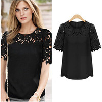 Black Short Sleeve Crochet Lace Accent Top