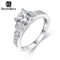 VALEN BELA 18K White Gold Plated Engagement Ring Jewelry Cubic Zircon Anelli Donna Rings for Women JZ5231