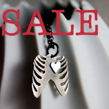 Rib Cage with Heart Silver Necklace by Markhed by MarKhed on Etsy