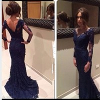 2015 Sexy V-Neck Long Sleeves Navy Lace Mermaid Prom Dress Evening Homecoming