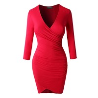 3/4 Sleeve Side Ruched Dress (CLEARANCE)