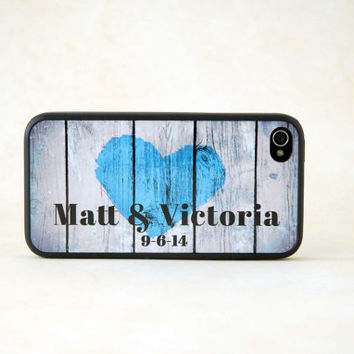 Personalized Phone Case, Rubber Silicone Custom iPhone Case - Rustic Country Heart, Couple Phone Case, Monogram, Gift