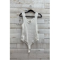 Textured Cut Out Bodysuit- White