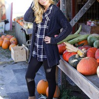 Paperback Cable Knit Cardigan, Navy