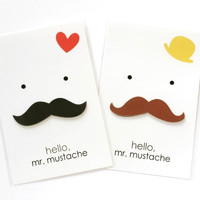 Hello Mr Mustache, Mustache Shaped Sticky Note + Postcard