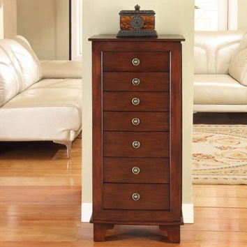 "Cayman 7 Drawer Locking Jewelry Armoire (Antique Brown) (40""H x 19""W x 13""D)"