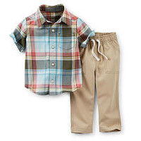 Carter's Boys 2 Piece Green/Red Plaid Button Up Short Sleeve Shirt and Woven Drawstring Pant Set