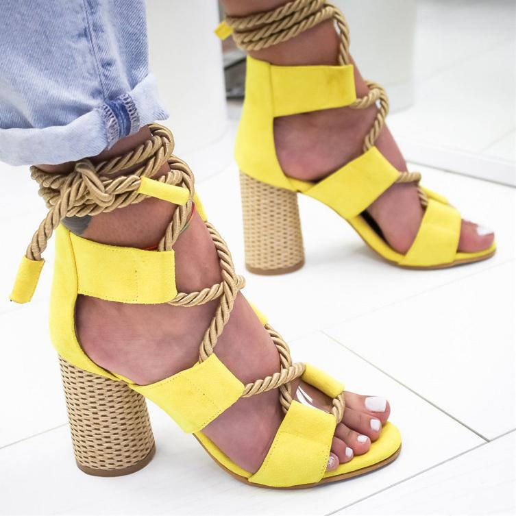 Image of Selling Fashion Coloured Personal Fashion Fashion Fashion Ladies Large Sandals with Coarse heels and High heels shoes