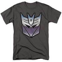 Transformers T-Shirt Blue and Purple Decepticon Charcoal Tee