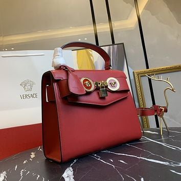 VERSACE WOMAN'S RED LEATHER Frosted HOT DRILL INCLINED CHAIN SHOULDER BAG
