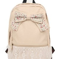 Sealike New Top Trendy Cute Korean Lace Backpack College Style Leisure Canvas Backpack Gilr's Lovely Bow Rucksack Vintage Floral Print School Bag Retro Sweet Fashionable Outdoor Backpack for Teens Students Women Ladies Girls Milk White