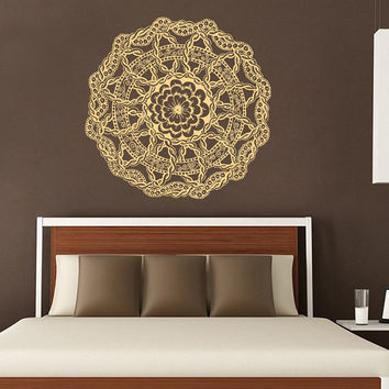 Mandala Wall Decal Ethnic Sunshine Stickers Vinyl Decals Flower Art Mural Home Decor Interior Design Bedroom Sticker Bohemian Decor KY100