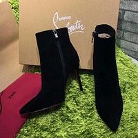 Cl Christian Louboutin Top Suede Ankle Boot Black