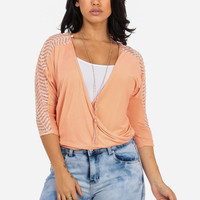 Peach Dolman Top with Lace Detail