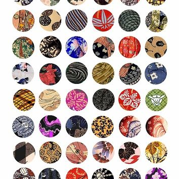 kimono fabrics Asian Japanese patterns textiles printable digital collage sheet 1 inch circles jewelry charms pendants pins buttons