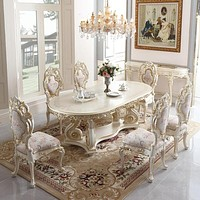 Luxurious Antique Solid Wood Carved Gold Dinner Table and Chairs