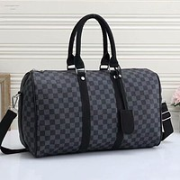 LV Louis Vuitton new product full-printed letters men and women large capacity duffel bag Black tartan