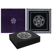 1 X Altar Tarot Tablecloth Table Cloth Decor Divination Cards Square Wicca Tapestry Black Purple Pentagram 904-081