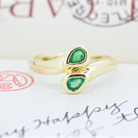 Vintage Emerald Ring | Snake Ring | Dual Stone Ring | Serpent Ouroboros Ring | 14k Yellow Gold Bypass Ring | May Birthstone Ring | Size 6.25
