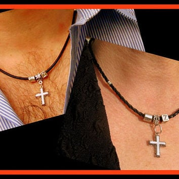 Men's black leather set. Cross silver, personalized, Zodiac and initial Bracelet boho necklace, spiritual gift, religious jewelry
