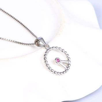 """Modern """"Clock"""" craft sterling silver necklace with lab-create ruby accent"""
