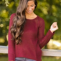 Story Of Us Sweater-Burgundy