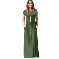 Summer Casual Maxi Dress For Women Short Sleeve Floor Length Long Dresses Women O Neck robe longue femme Dress Female Vestidos