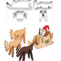 4 Pcs Santa Clause And Reindeers Cookie Cutter Set