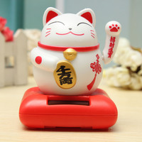 Solar Powered Maneki Neko Welcoming Lucky Beckoning Fortune Cat Home Decor Furnishings