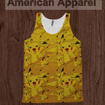 Pikachu Pokemon Tee - American Apparel Tank Top Promethazine Dye Sublimation