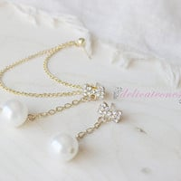 Bow Pearl Chain Stud Chain Cartilage Piercing