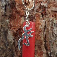 Shotgun shell key chain, browning deer key chain,  silver browning deer, winchester 12 gauge, hunting accessories, camo keychain, redneck
