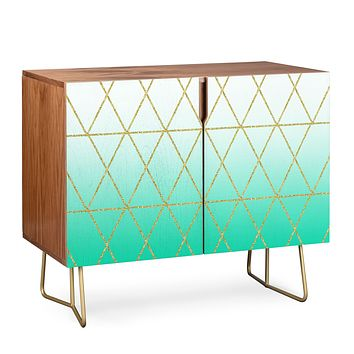 Leah Flores Turquoise and Gold Geometric Credenza