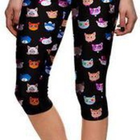 Pencil Skinny Cats Flower Print Skinny 3/4 Yoga Sport Leggings