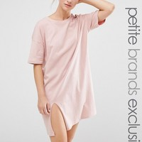 One Day Petite Oversized T Shirt Dress With Split at asos.com