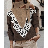 2020 winter new women's sexy sling strapless leopard stitch knitted sweater