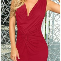 Red Pleated Bodycon Deep V-neck Sleeveless Elegant Ruched Dress