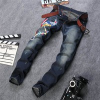 Star Strong Character Embroidery Slim Pants Jeans [6541740035]