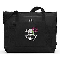 Skull with Flower Personalized Embroidered Tote