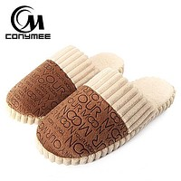 Indoor Slippers For Men Casual Home Sneakers Warm Soft Plush Male Cotton Slippers