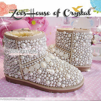 PROMOTION: WINTER Bling and Sparkly Elegant White SheepSkin Wool Boots w Pearls and Crystals