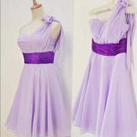 Custom A-line One-shoulder Sleeveless Short/Mini Chiffon Bridesmaid Dress With Sashes Free Shipping