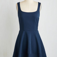 Nautical Mid-length Sleeveless Fit & Flare Met With Splendor Dress in Navy