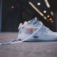 "PEAP9IW OFF-White x NIKE AIR FORCE 1 low ""Grey&Whiteââ'?Men SneakerA04606-100"